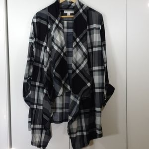 Plaid checkered Open Front Coat cardigan XL